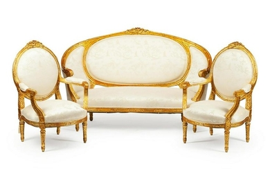 A 19th C. Louis XVI Giltwood Salon Suite