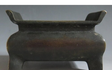 A Chinese Bronze Censer with two character mark to base, 12....