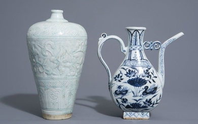 A Chinese blue and white jug and a...