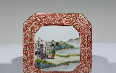 A Chinese famille rose-decorated porcelain octagonal paste box 19th/20th...