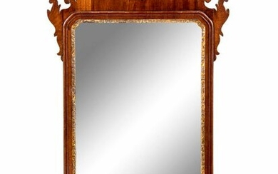 A Chippendale Parcel Gilt Mahogany Looking Glass
