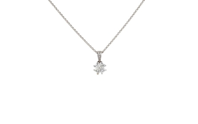 A DIAMOND CLOVER LEAF PENDANT AND CHAIN, with diamonds of ap...