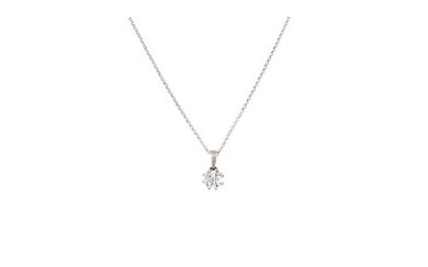A DIAMOND CLUSTER PENDANT, set with four heart shaped diamon...