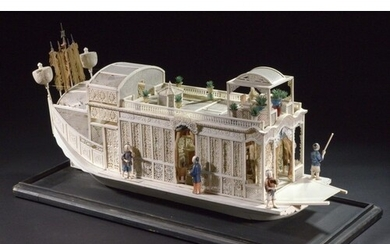 A FINE CHINESE EXPORT IVORY MODEL OF A PLEASURE BOAT, CANTON...