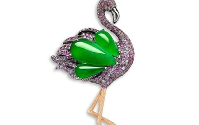 A Jadeite, Gem-set and Diamond 'Flamingo' Brooch/Pendant