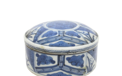 A Kraak porcelain blue and white box and cover