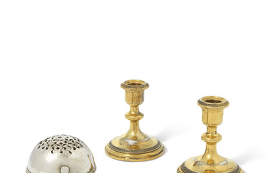 A MALTESE SILVER SOAPBOX AND A PAIR OF FRENCH SILVER-GILT CANDLESTICKS, THE SOAPBOX WITH MARK FOR MALTA, CIRCA 1770; THE CANDLESTICKS WITH MARK OF JULES MARIE, PARIS, CIRCA 1889-1912
