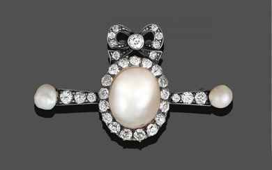 A Mabe Pearl and Diamond Brooch, a bow motif set...
