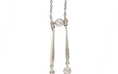 A NATURAL PEARL AND DIAMOND LAVALIER NECKLACE, EARLY
