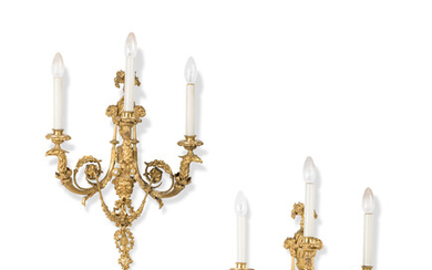 A PAIR FRENCH ORMOLU THREE-LIGHT WALL-APPLIQUES, AFTER THE MODEL BY LOUIS-GABRIEL FELOIX, LATE 19TH CENTURY