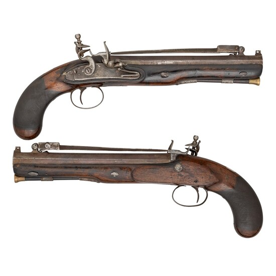 A PAIR OF 10 BORE FLINTLOCK OFFICER'S PISTOLS SIGNED D. EGG, EARLY 19TH CENTURY