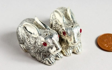 A PAIR OF CAST SILVER PLATED NOVELTY RABBIT SALT AND