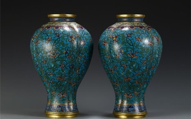 A PAIR OF CHINESE CLOISONNE FLOWER PATTERN VASE