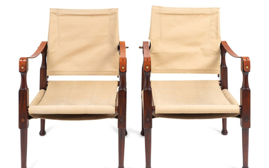 A Pair of British Colonial Style Mahogany, Canvas and Leather Strap Campaign Chairs