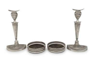 A Pair of English Silver Candlesticks and a Pair of English Silver Coasters