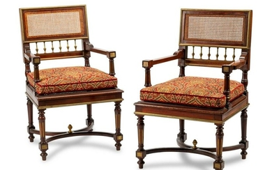A Pair of Louis XVI Style Gilt Bronze Mounted Mahogany