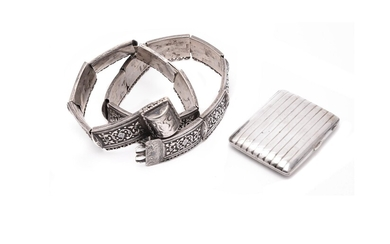 A Russian or Caucasian silver and niello belt