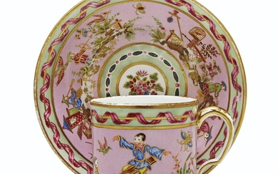 A SEVRES (HARD PASTE) PORCELAIN PINK AND MINT-GREEN CUP AND SAUCER (GOBELET 'LITRON' ET SOUCOUPE, 3EME GRANDEUR), CIRCA 1777, PUCE CROWNED INTERLACED L'S MARKS, THE MARK ENCLOSING DATE LETTER Z TO THE CUP, PAINTER'S MARK FOR LOUIS ANTOINE LE GRAND...