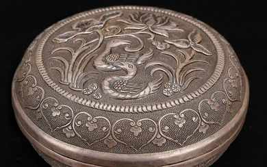 A SILVER CASTED FLOWER&ANIMAL BOX