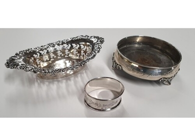 A Silver Napkin Ring, a Dish along with a Bon Bon Dish.