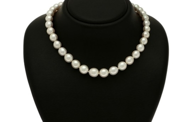 A South Sea pearl necklace set with numerous cultured South Sea pearls with a magnetic clasp of 14k white gold with a satin finish.