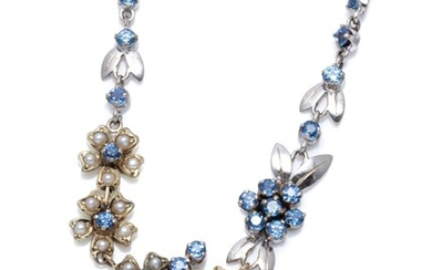 A VINTAGE 9CT TRICOLOUR GOLD SAPPHIRE AND PEARL NECKLACE; floral clusters of round cut fine blue sapphires and seed pearls in yellow...