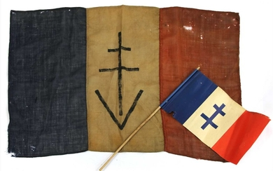 A WWII original free French FFI resistance linen flag