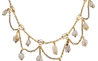 A baroque cultured pearl fringe necklace.