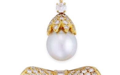 A cultured pearl and diamond enhancer brooch designed as...