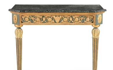 A dark green painted and parcel gilt console table