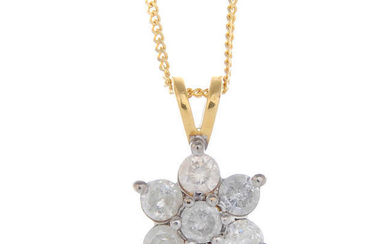 A diamond cluster pendant, with chain.