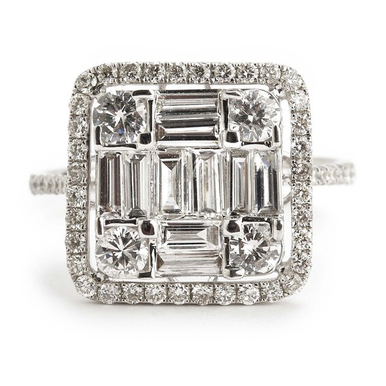 A diamond ring set with numerous baguette and brilliant-cut diamonds weighing a total of app. 1.44 ct., mounted in 18k white gold. H/VS-P1. Size 53.