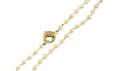 A freshwater cultured pearl single-strand necklace.