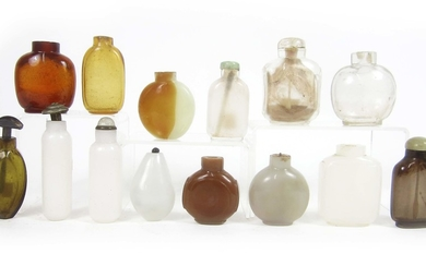 A group of glass snuff bottles