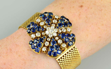 A mid 20th century old-cut diamond and sapphire floral bracelet, convertible to a brooch.