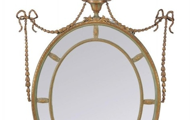 A painted and parcel gilt composition wall mirror in George III Adam style