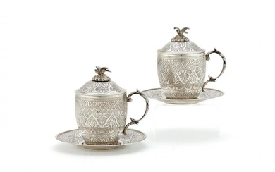 A pair of Ottoman silver sahlep cups, covers and stands