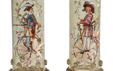 A pair of enamelled glass footed vases, Bohemia...