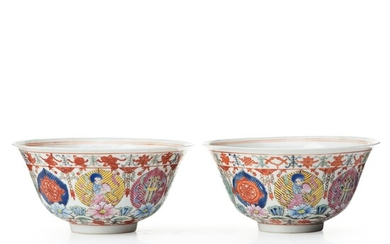 A pair of famille rose marriage bowls, probably republic, 20th Century.