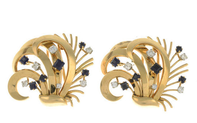 A pair of mid 20th century 18ct gold sapphire and diamond clips.