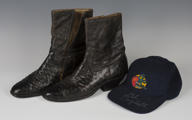 A pair of ostrich leather cowboy boots, formerly owned and worn on stage by Glen Campbell, both sign