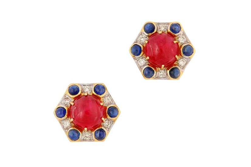 A pair of spinel, sapphire and diamond earstuds