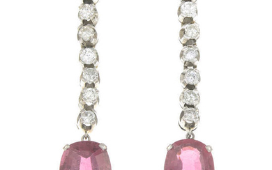 A pair of tourmaline and brilliant-cut diamond drop earrings.
