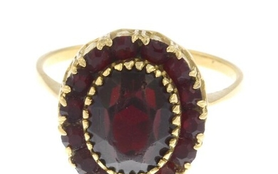 A red paste cluster ring.Ring size Q1/2. 5gms.