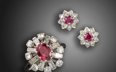 A ruby and diamond ring and earring set, the ring centred with an oval-shaped ruby within a surround of round brilliant-cut and baguette-shaped diamonds in platinum, with a pair of ruby and diamond flowerhead cluster earrings in white gold, earrings...