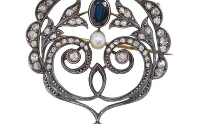 AN ANTIQUE PEARL, SAPPHIRE AND DIAMOND BROOCH