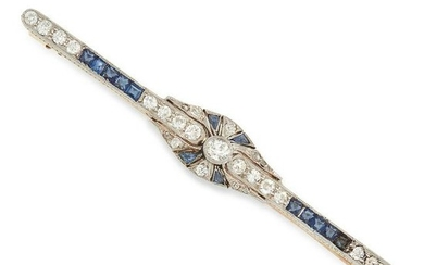 AN ANTIQUE SAPPHIRE AND DIAMOND BAR BROOCH set with