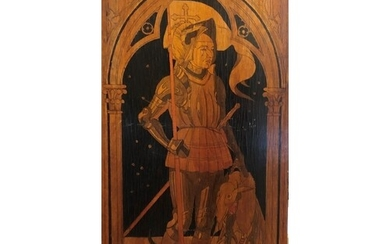 AN EARLY 20TH CENTURY SWISS PENWORK PANEL George and The Dra...