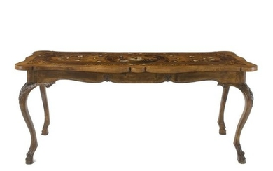 An inlaid top walnut center table, the top 18th century