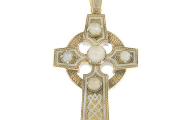 An mid Victorian 15ct gold enamel and split pearl